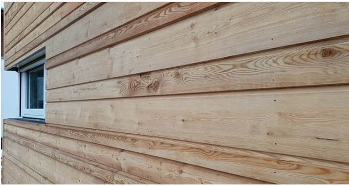 Detailbild auf horizontale Holzverschalung