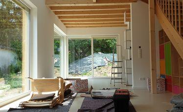 Innenansicht Haus mit Treppe, Bauarbeiten