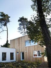 Holzhaus mit Bäumen und Vorgarten