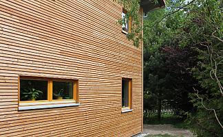 horizontale Lärchenfassade, gelbe Fensterrahmen